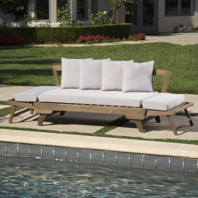 2019 Ellanti Teak Patio Daybed With Cushions Within Patio Daybeds With Cushions (Gallery 2 of 20)