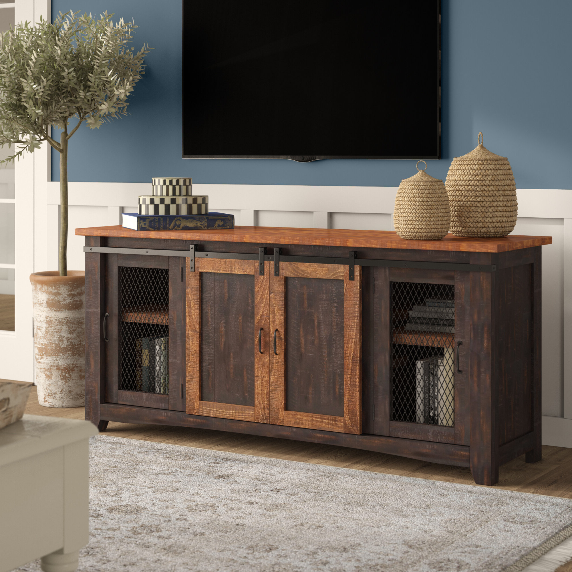 "2019 Gracie Oaks Belen Tv Stand For Tvs Up To 70"" With Colefax Vintage Tv Stands For Tvs Up To 78"" (View 8 of 20)"