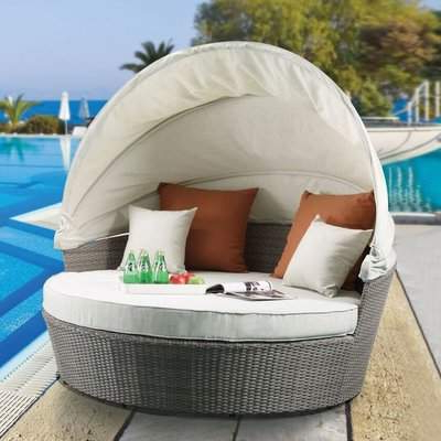 2019 Gracie Oaks Platt Patio Daybed With Cushions Gracie Oaks Inside Clary Teak Lounge Patio Daybeds With Cushion (View 1 of 20)