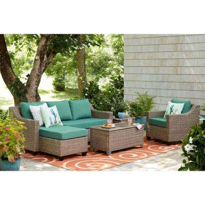 2019 Greta Living Patio Sectionals With Cushions Regarding Green – Aluminum – Patio Furniture – Outdoors – The Home Depot (View 1 of 20)