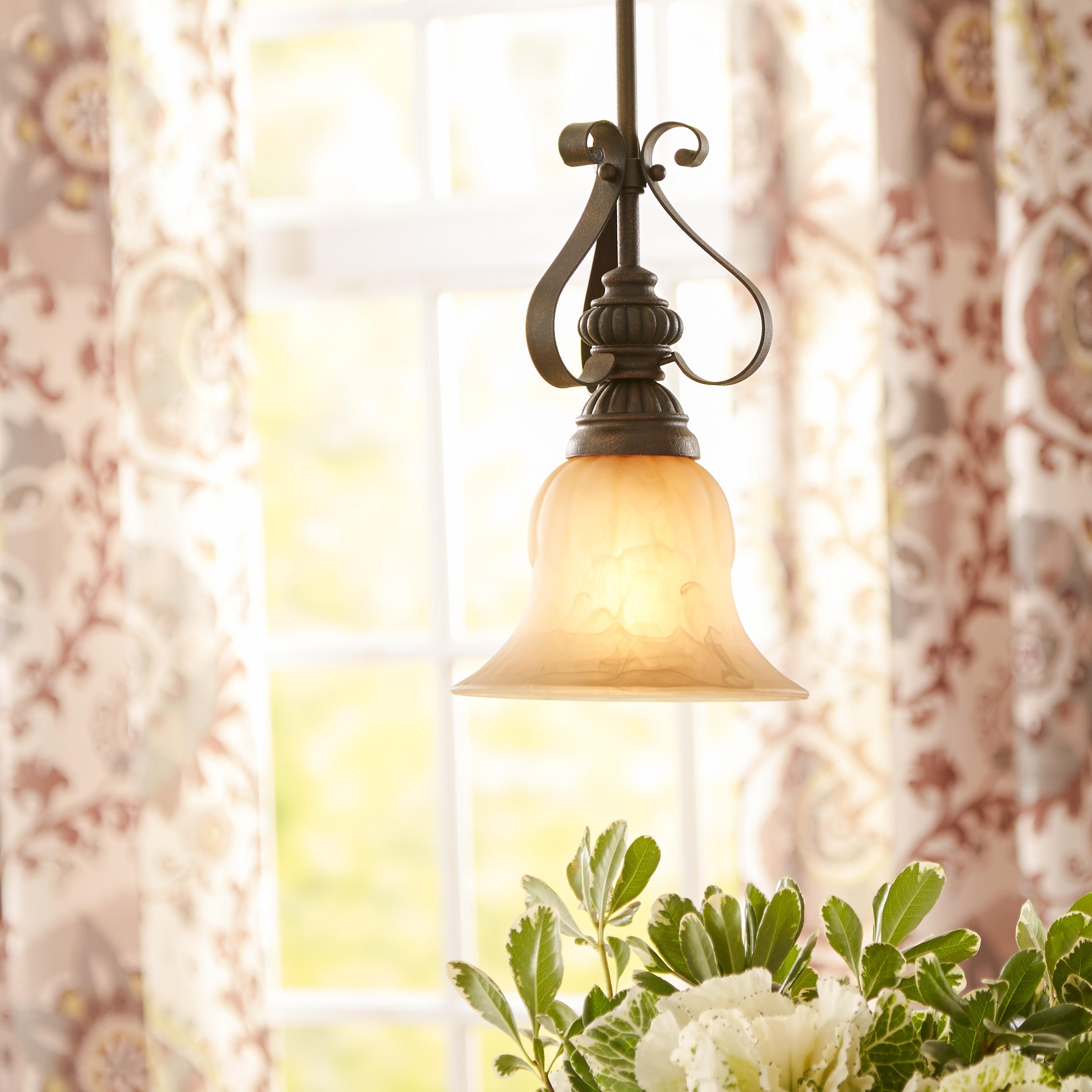 2019 Grullon Scroll 1 Light Single Bell Pendant In Grullon Scroll 1 Light Single Bell Pendants (View 1 of 20)
