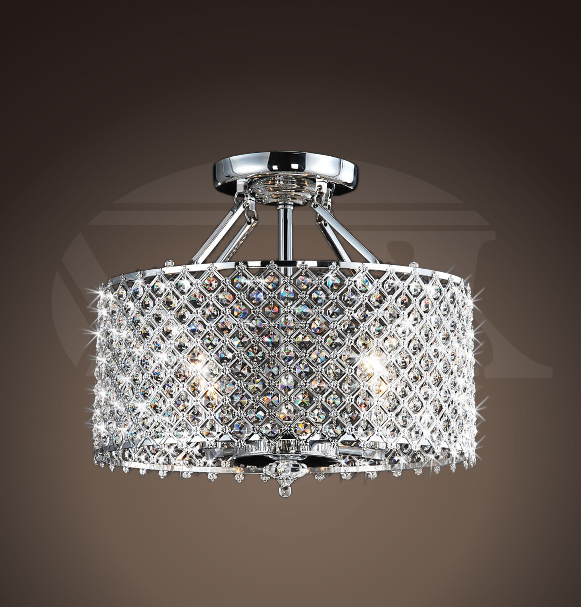 2019 Helina Chrome And Crystal 4 Light Round Ceiling Flush Mount With Regard To Helina 1 Light Pendants (View 1 of 20)
