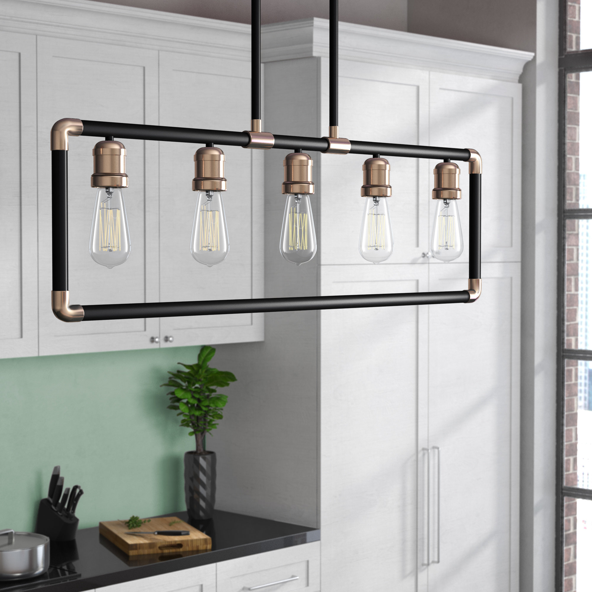 2019 Jefferson 4 Light Kitchen Island Linear Pendants For Abree 5 Light Kitchen Island Pendant (Gallery 19 of 20)
