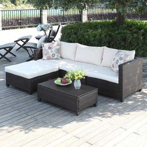 2019 Lachesis 5 Piece Sectional Seating Group With Cushions In For Stockwell Patio Sofas With Cushions (Gallery 16 of 20)