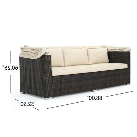 2019 Lammers Outdoor Wicker Daybed With Cushions With Regard To Lammers Outdoor Wicker Daybeds With Cushions (Gallery 16 of 20)