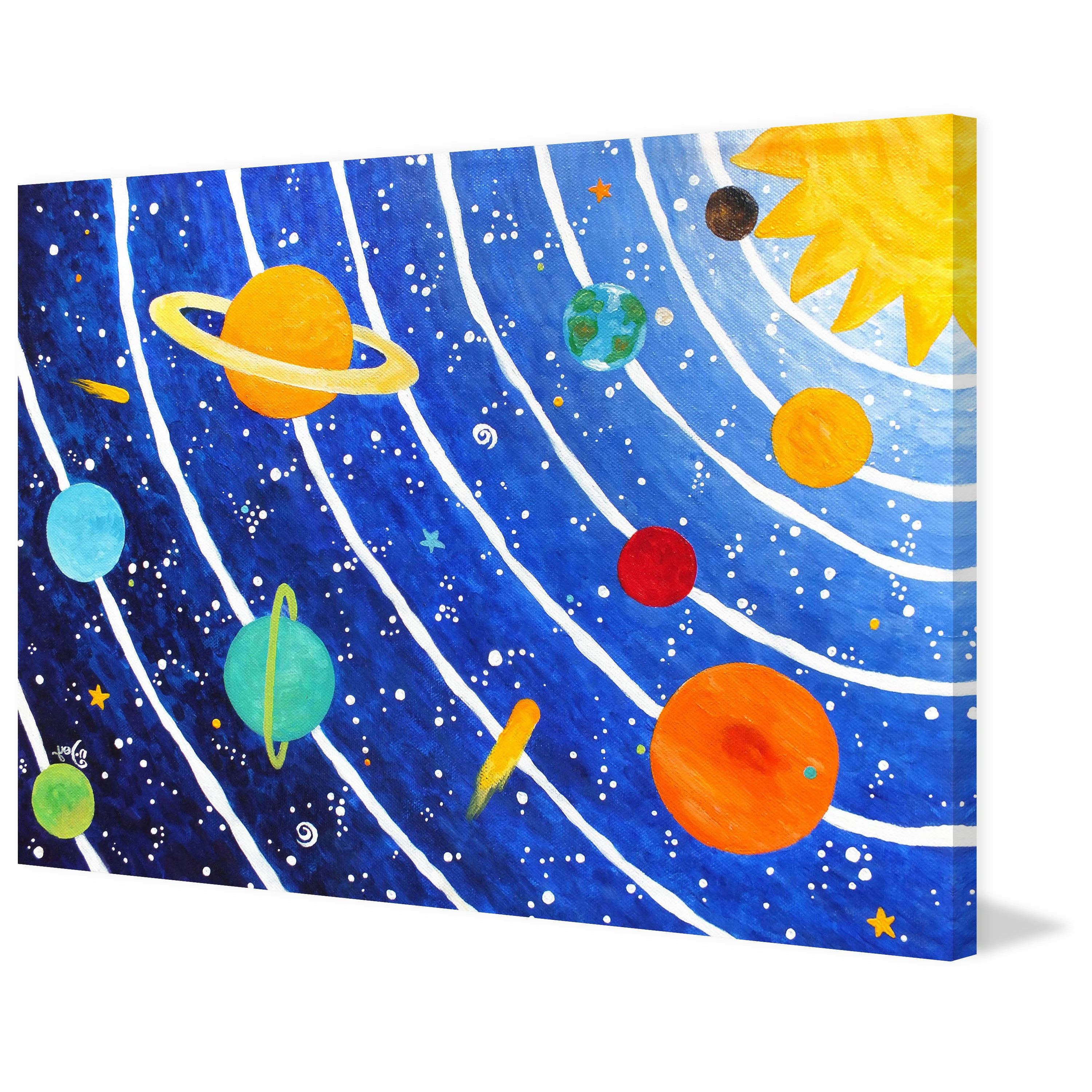 2019 Marmont Hill – 'solar System Blue'nicola Joyner Painting Print On  Wrapped Canvas – Multi Color In Joyner Sideboards (Gallery 20 of 20)
