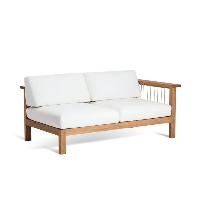 2019 Maro Teak Left Arm Loveseat With Sunbrella Cushions Inside Mansfield Teak Loveseats With Cushion (View 1 of 20)