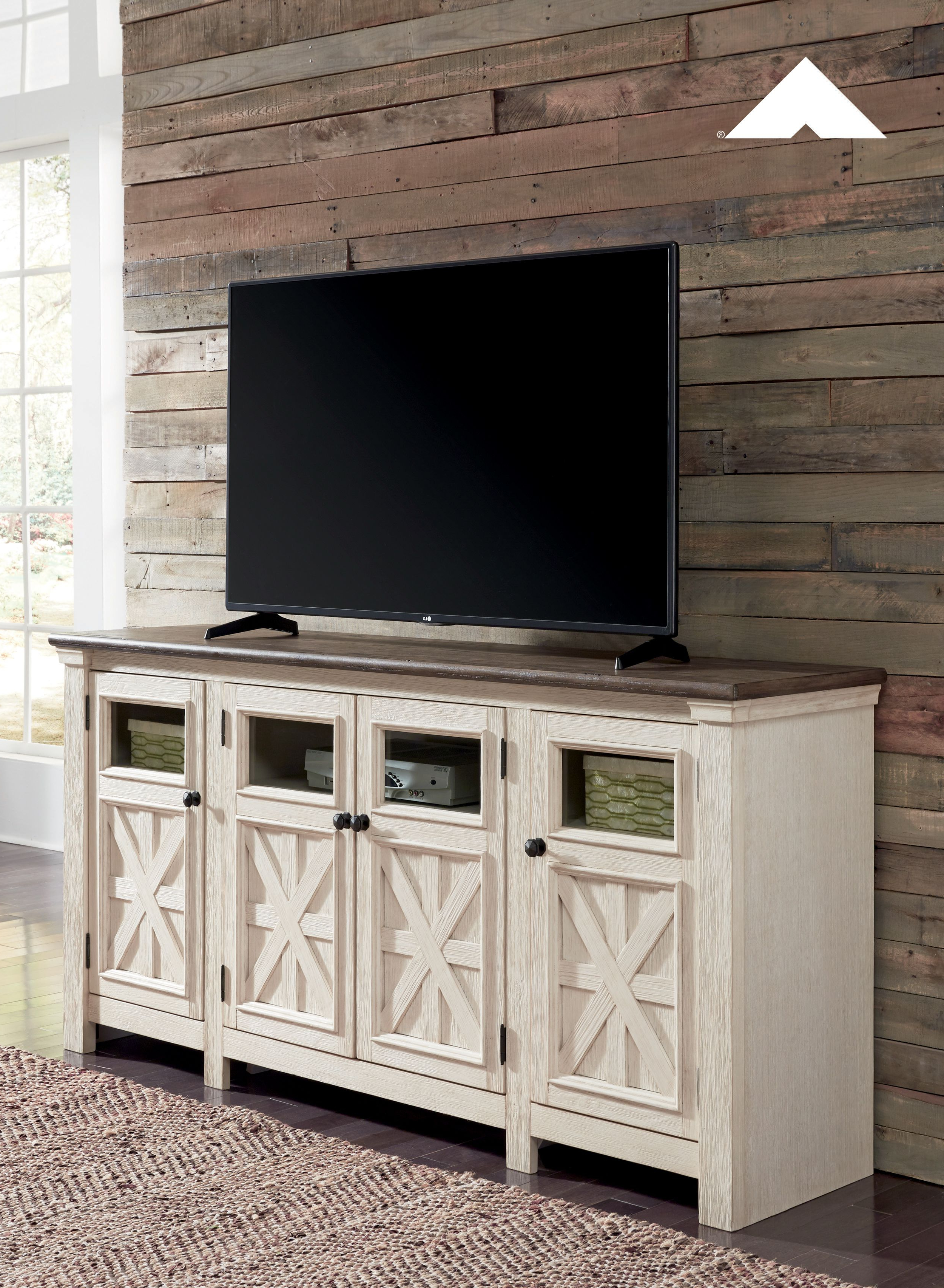 "2019 Parmelee Tv Stands For Tvs Up To 65"" Regarding Bolanburg Two Tone Antique White And Weathered Oak Extra (Gallery 13 of 20)"