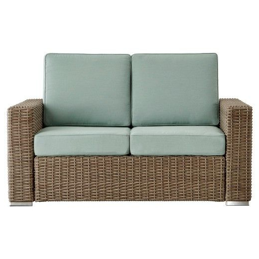 2019 Riviera Pointe Wicker Patio Track Arm Loveseat With Cushions With Regard To Mullenax Outdoor Loveseats With Cushions (Gallery 18 of 20)