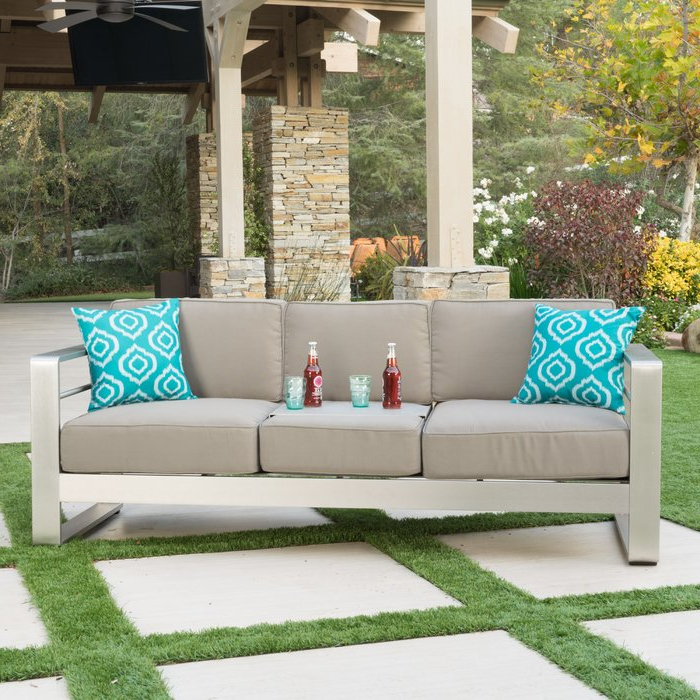 2019 Royalston Patio Sofa With Cushions With Royalston Patio Sofas With Cushions (View 1 of 20)