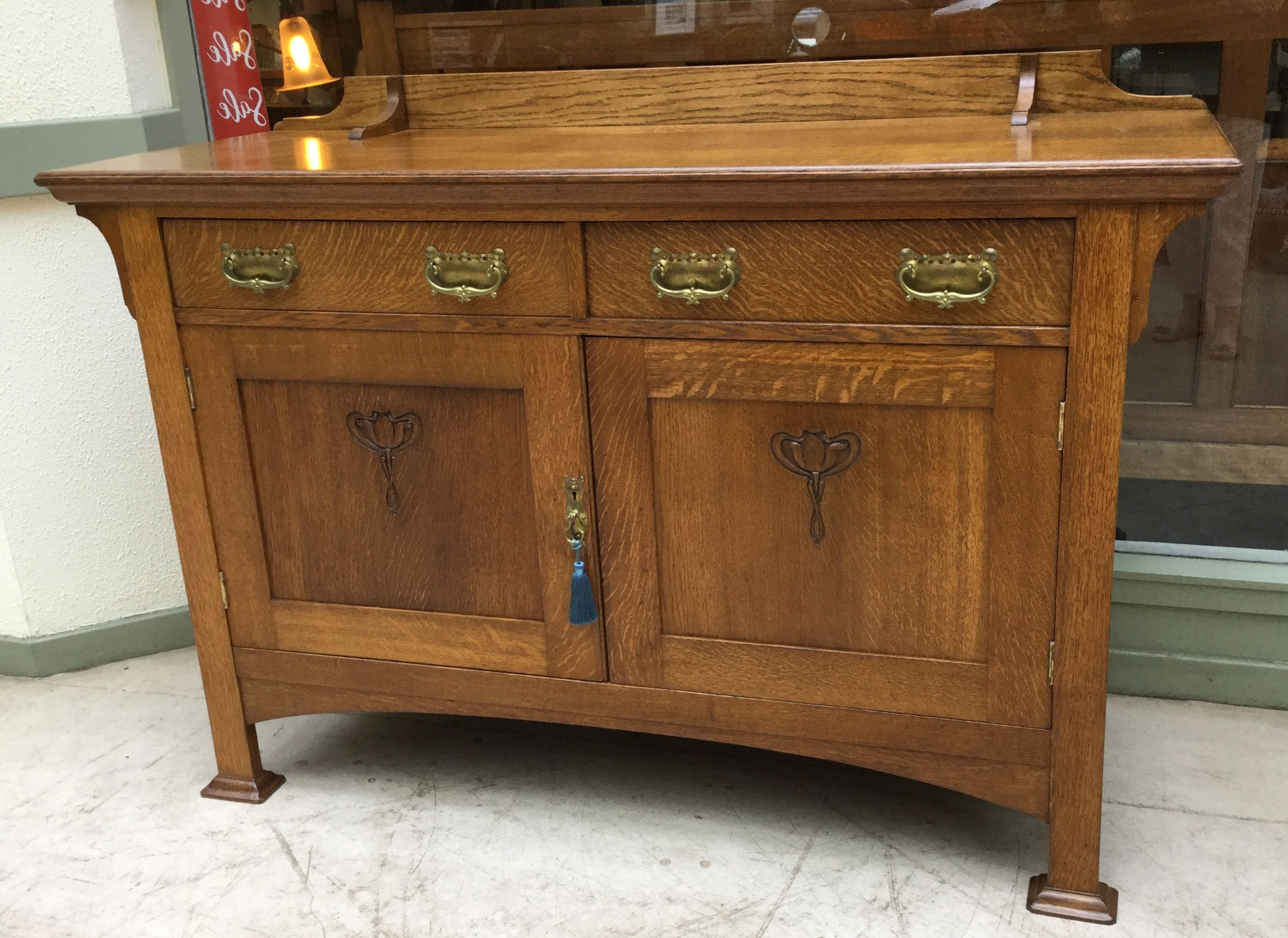 2019 Ruskin Sideboards Within Stunning Oak Sideboard With Original Brass Metalware (View 1 of 20)