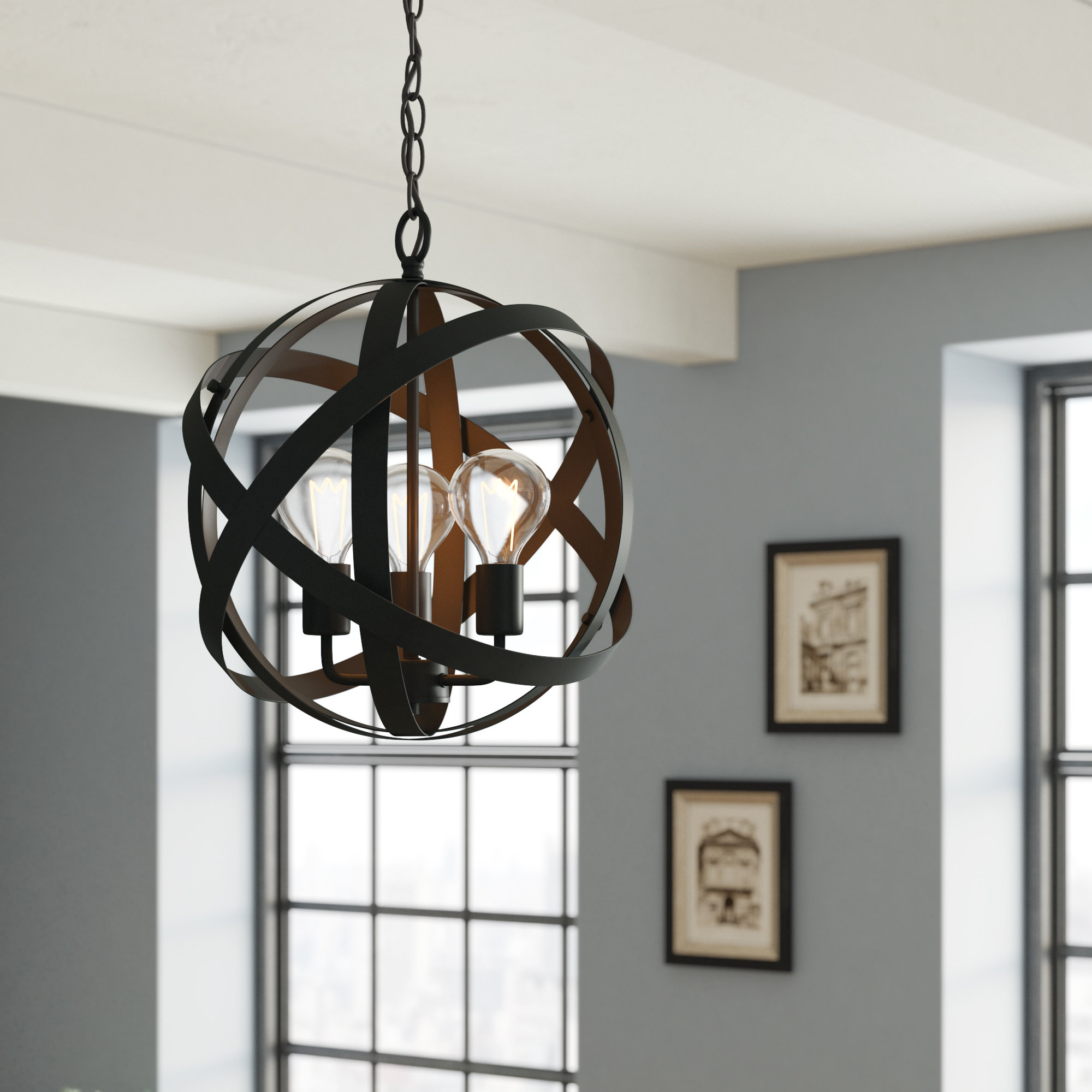 2019 Shipststour 3 Light Globe Chandeliers Within Framlingham 3 Light Globe Chandelier (View 3 of 20)
