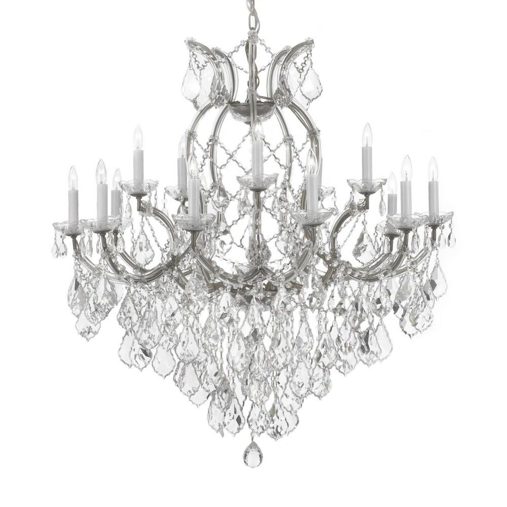 2019 Thresa 5 Light Shaded Chandeliers Inside Maria Theresa 16 Light Empress Crystal Chandelier Silver (View 1 of 20)