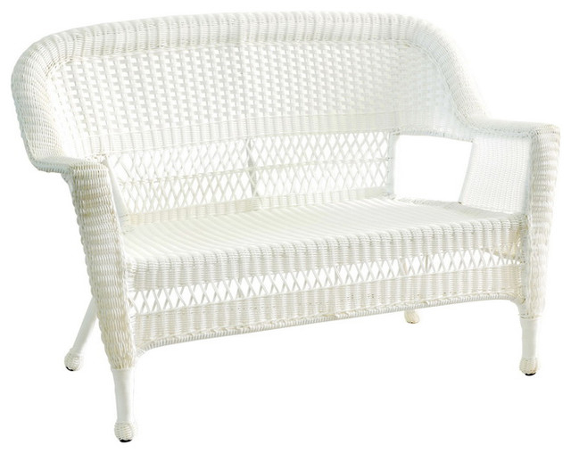 2019 Wicker Loveseats With Regard To Jeco Inc Patio Decorative White Wicker Patio Love Seat (View 14 of 20)