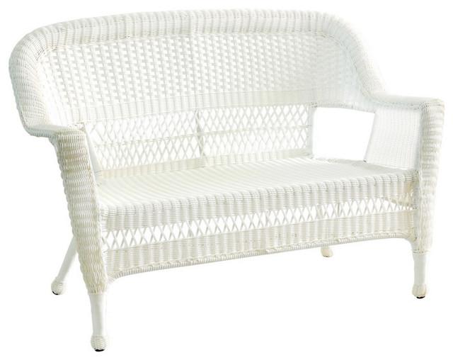 2019 Wicker Loveseats With Regard To Jeco Inc Patio Decorative White Wicker Patio Love Seat (View 3 of 20)