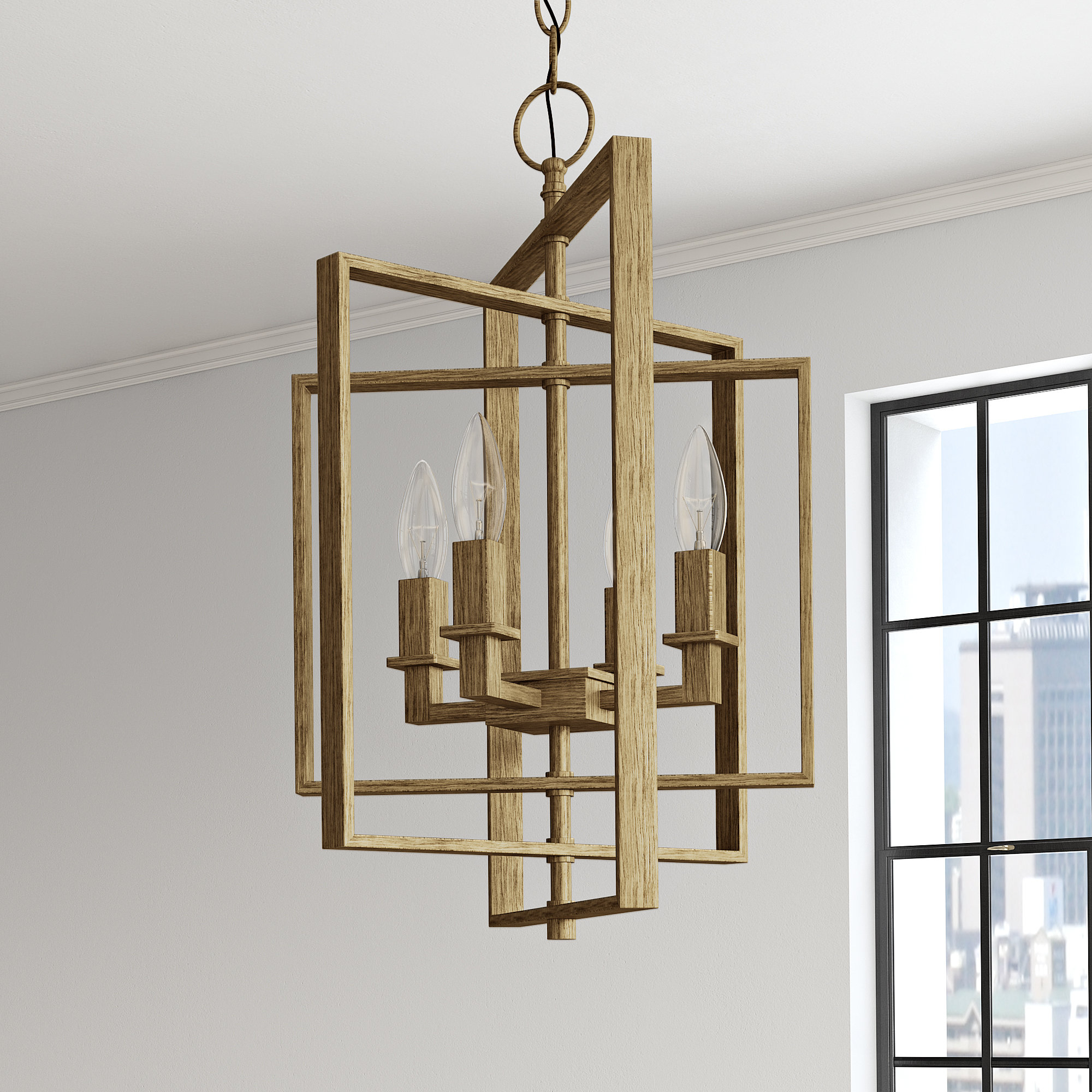 2019 Yarnell 4 Light Square/rectangle Chandelier Within Tiana 4 Light Geometric Chandeliers (View 1 of 20)