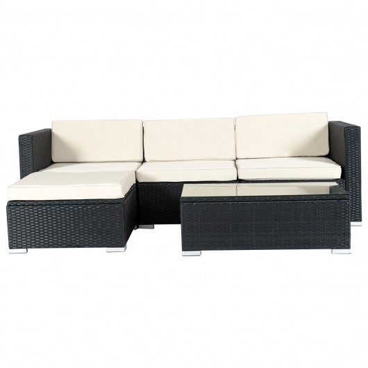 2020 5 Pcs Patio Garden Rattan Furniture Set With Cushion Inside Tess Corner Living Patio Sectionals With Cushions (View 12 of 20)