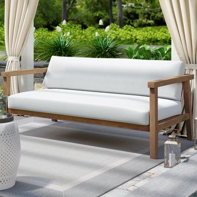 2020 Bayou Breeze Edmeston Outdoor Teak Loveseat With Cushions In With Regard To Montford Teak Loveseats With Cushions (View 1 of 20)