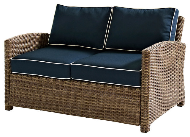 2020 Bradenton Outdoor Wicker Loveseat With Navy Cushions Intended For Wicker Loveseats (View 4 of 20)