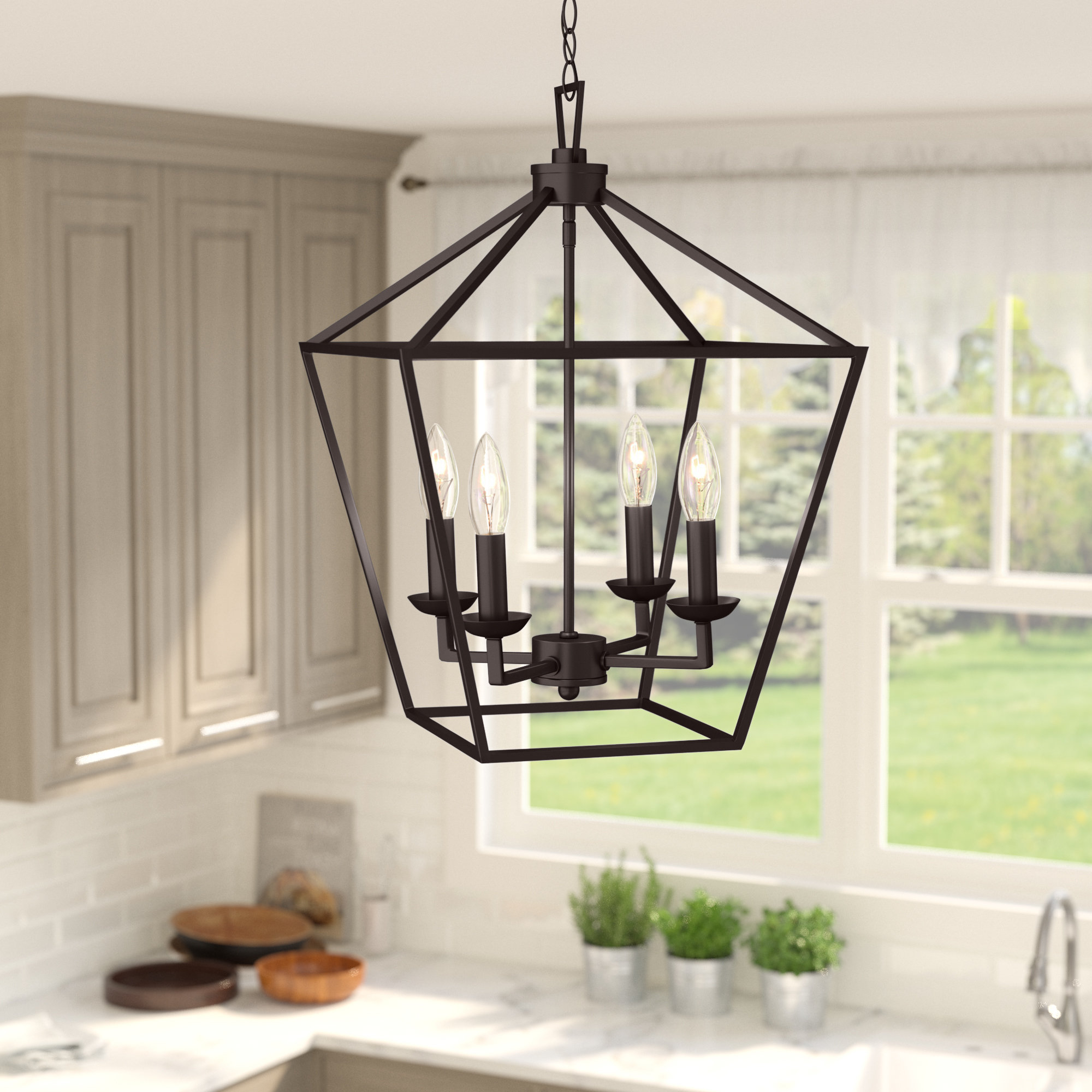 2020 Carmen 4 Light Lantern Geometric Pendant With Regard To Finnick 4 Light Foyer Pendants (View 4 of 20)