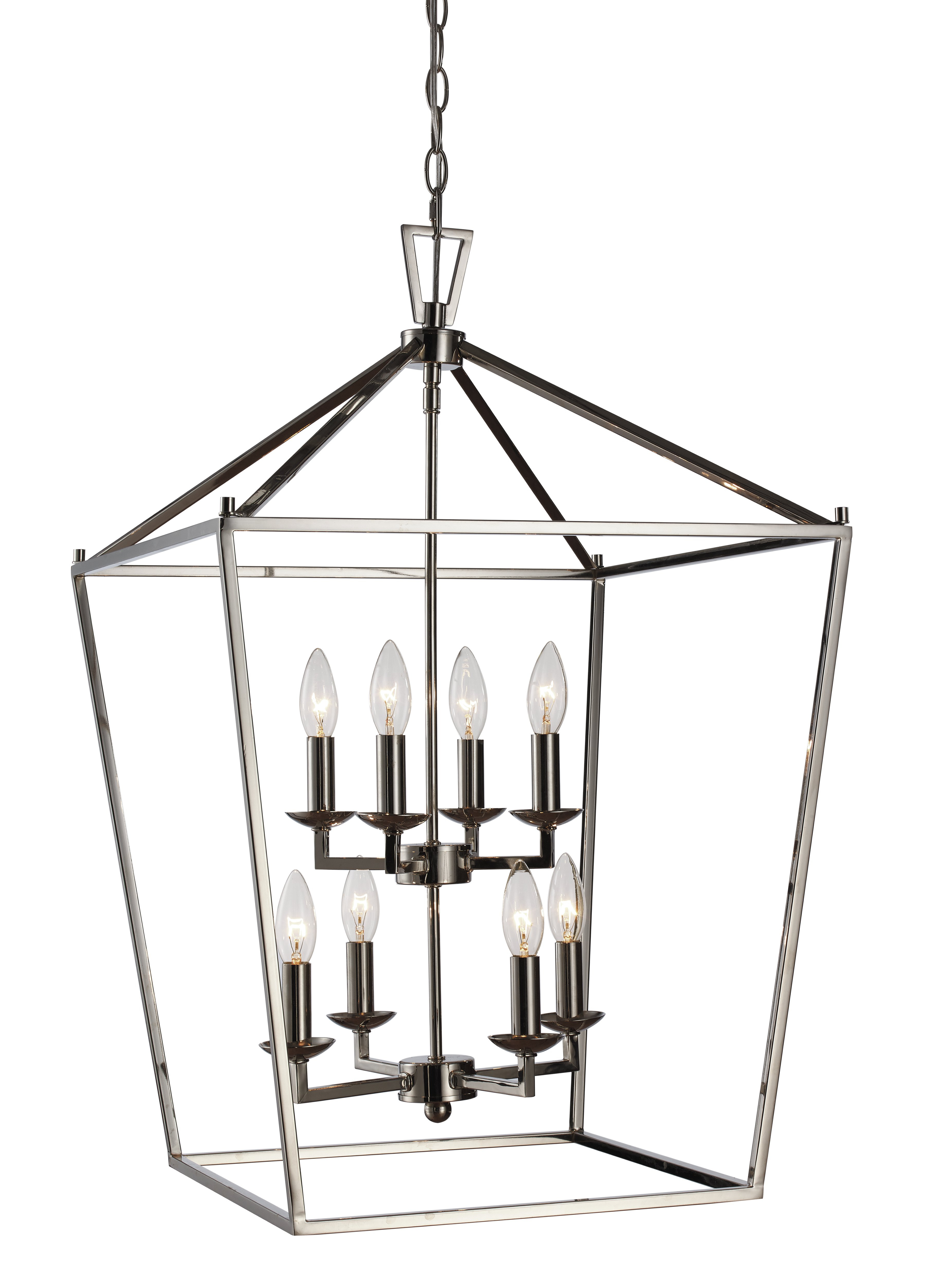 2020 Carmen 8 Light Lantern Tiered Pendants With Regard To Carmen 8 Light Lantern Geometric Pendant (Gallery 4 of 20)