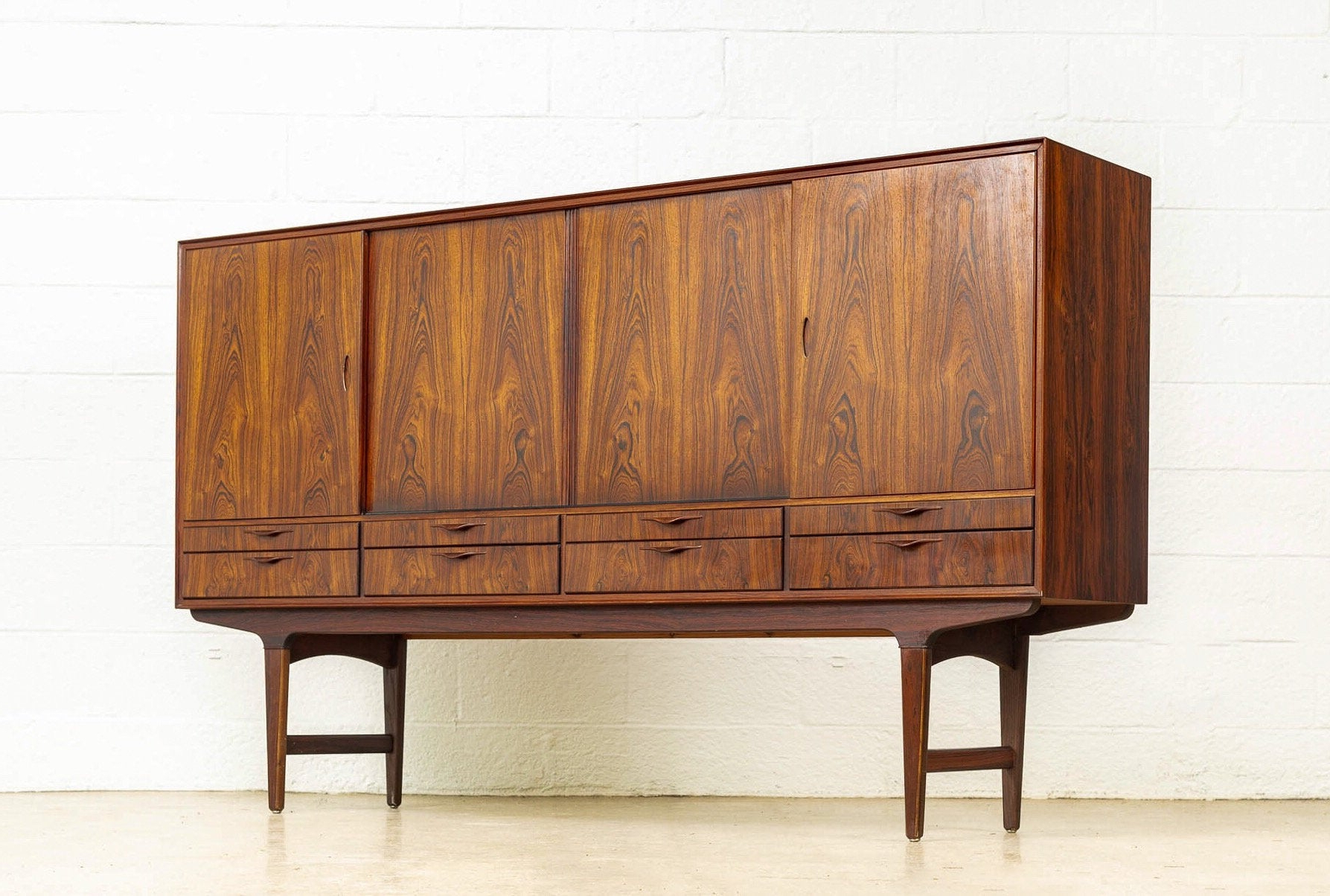 2020 Exceptional Mid Century Danish Modern Tall Rosewood Credenza Sideboard Or Bar Cabinet, 1960s Intended For Deana Credenzas (View 14 of 20)