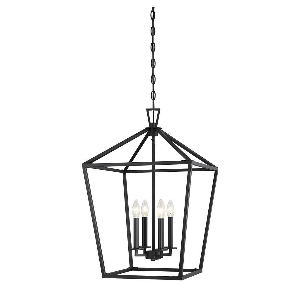 2020 Finnick 4 Light Foyer Pendants In Filament Design 4 Light Matte Black Pendant (View 2 of 20)