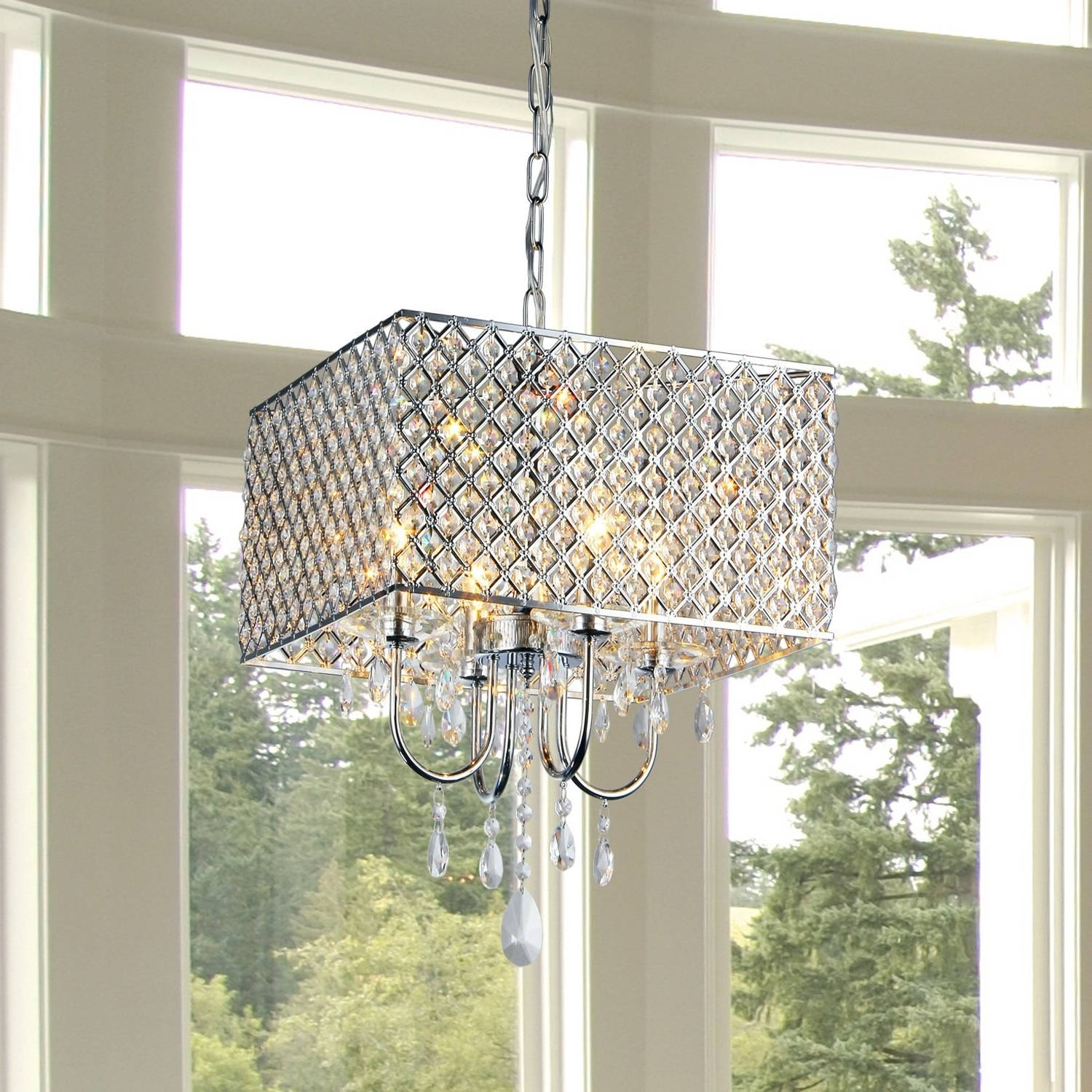 2020 Garrin Square 4 Light Crystal Chandelier With Regard To Albano 4 Light Crystal Chandeliers (Gallery 11 of 20)