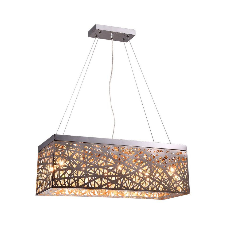 2020 Gracelyn 8 Light Kitchen Island Pendants Pertaining To Layla 8 Light Chrome Indoor Crystal Rectangular Pendant (Gallery 18 of 20)