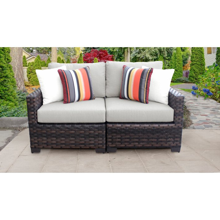2020 Kathy Ireland Homes & Gardens River Brook 2 Piece Outdoor Wicker Patio  Furniture Set 02A Inside Avadi Outdoor Sofas & Ottomans 3 Piece Set (View 1 of 20)