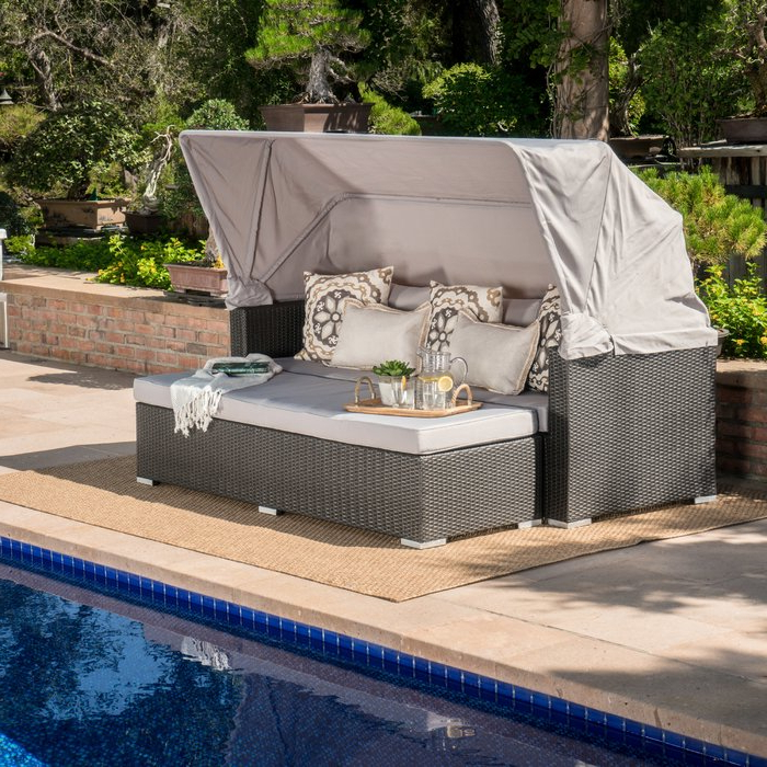 2020 Lammers Outdoor Wicker Daybed With Cushions Within Behling Canopy Patio Daybeds With Cushions (Gallery 7 of 20)