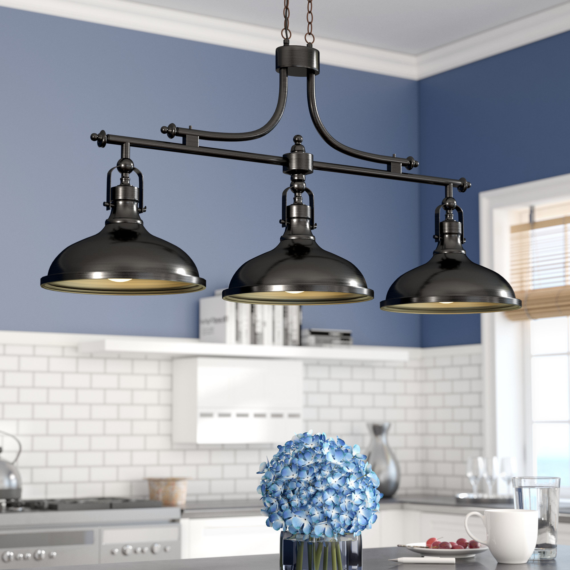 2020 Martinique 3 Light Kitchen Island Dome Pendant In Fredela 3 Light Kitchen Island Pendants (View 3 of 20)