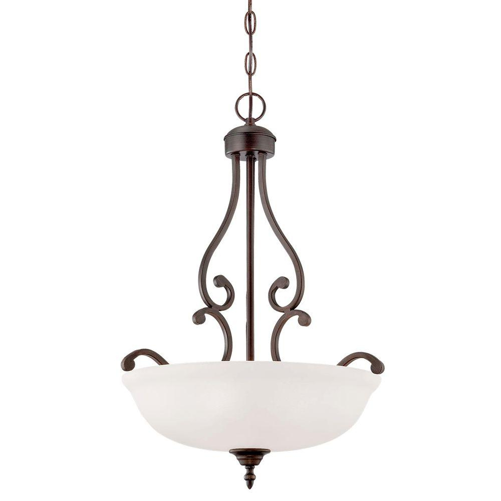2020 Millennium Lighting 3 Light Rubbed Bronze Pendant With Etched White Glass Pertaining To Gabriella 3 Light Lantern Chandeliers (View 1 of 20)