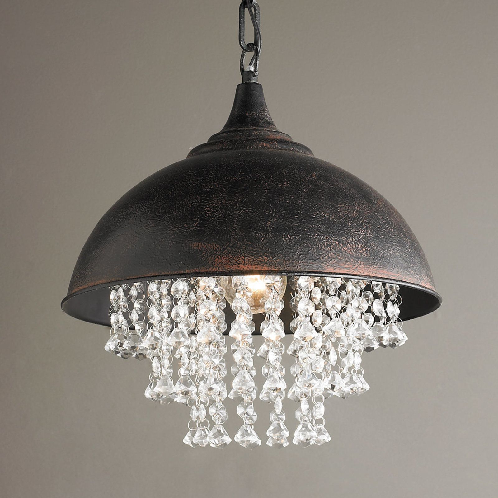 2020 Monadnock 1 Light Single Dome Pendants Throughout Metal Dome Pendant With Crystals (Gallery 20 of 20)