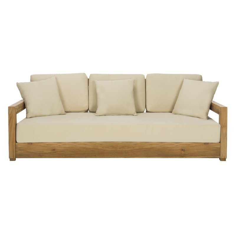 2020 Montford Teak Patio Sofas With Cushions For Montford Teak Patio Sofa With Cushions (Gallery 3 of 20)