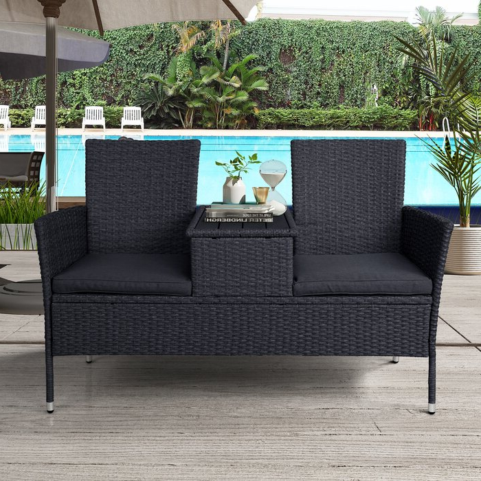 2020 Mosca Patio Loveseats With Cushions With Regard To Menoher Outdoor Loveseat With Cushions (View 1 of 20)