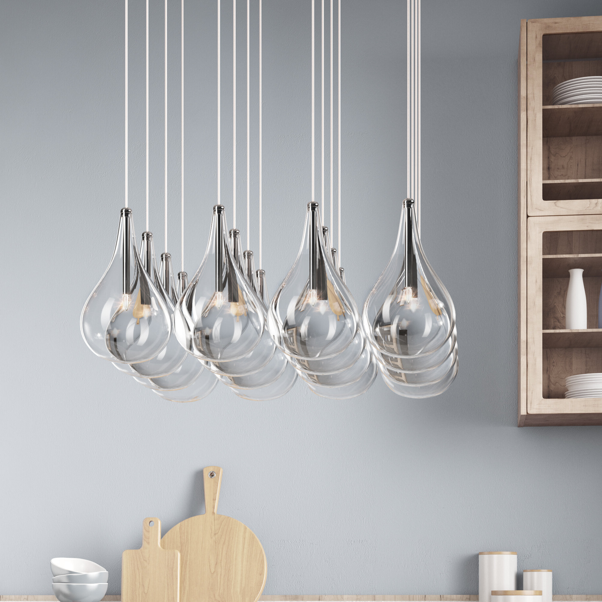 2020 Neal 5 Light Kitchen Island Teardrop Pendants In Neal 16 Light Kitchen Island Pendant (View 1 of 20)