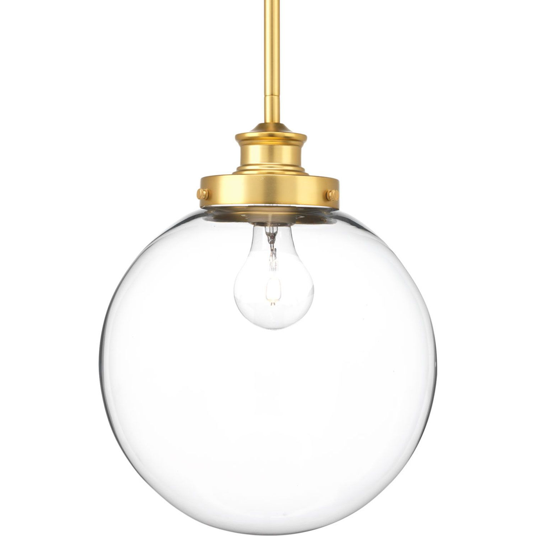 2020 P5070 137 Penn Natural Brass 10 Inch One Light Globe Pendant In Gehry 1 Light Single Globe Pendants (View 2 of 20)