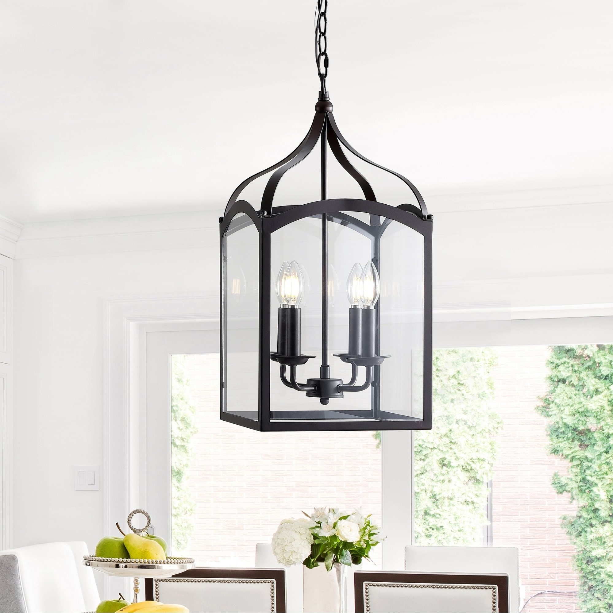 "2020 Ruth 11"" 4 Light Lantern Metal/glass Led Pendant, Oil Rubbed Pertaining To 4 Light Lantern Square / Rectangle Pendants (Gallery 19 of 20)"