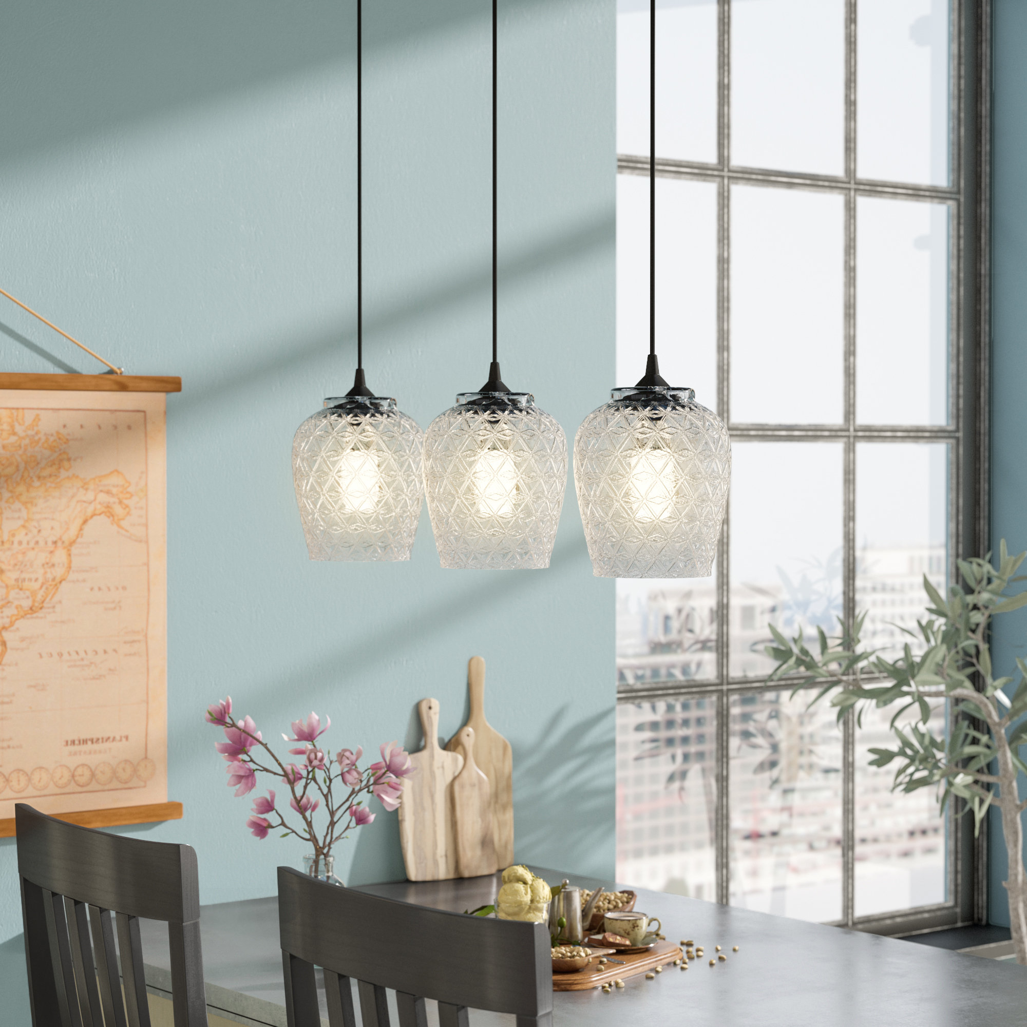 2020 Schutt 4 Light Kitchen Island Pendants In Vintage Filament Bulb Included Pendant Lighting Sale – Up To (View 1 of 20)