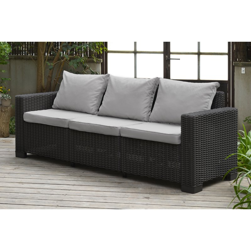 2020 Stallcup Patio Sofa With Cushions Pertaining To Yoselin Patio Sofas With Cushions (View 7 of 20)