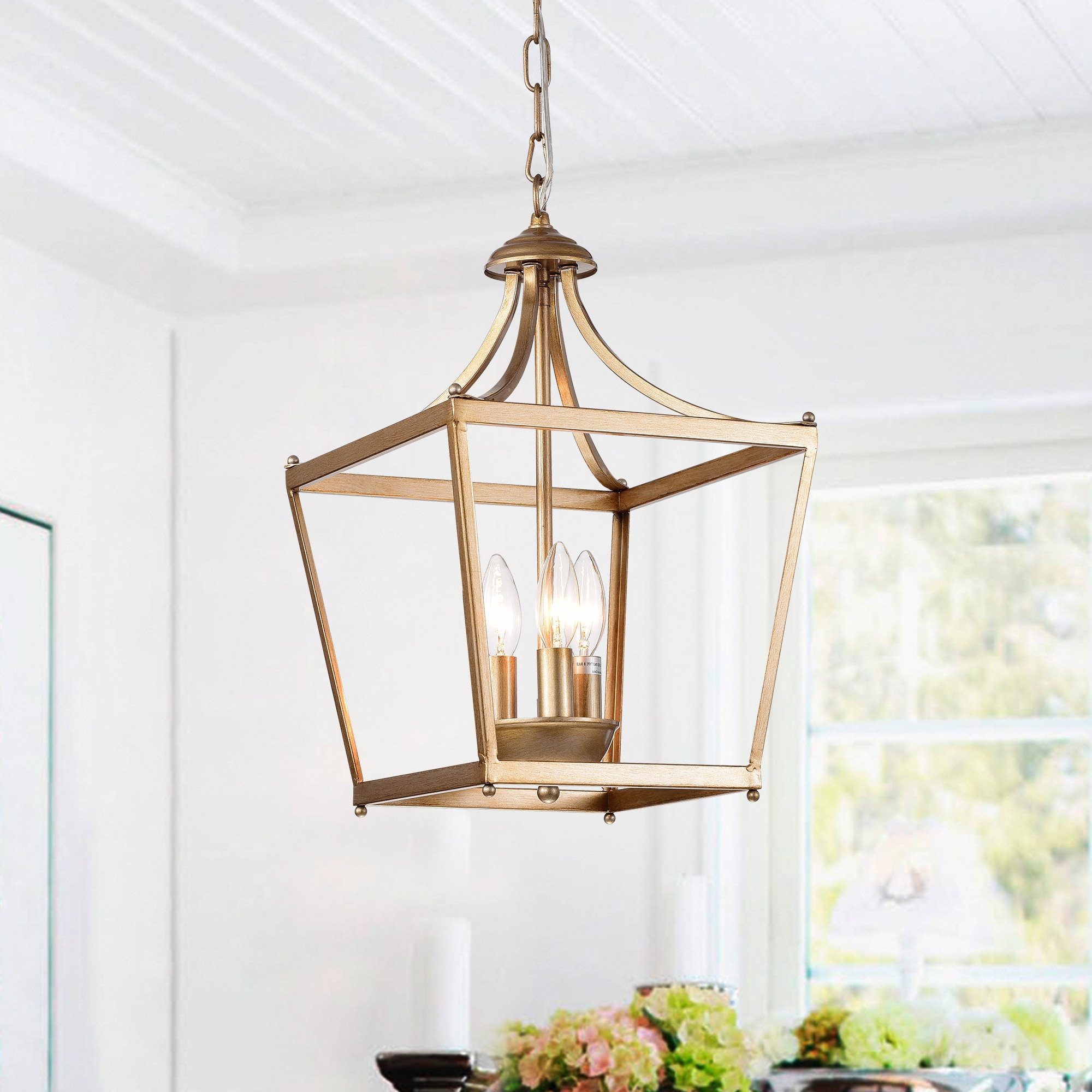 2020 Warehouse Of Tiffany Sunsus Gold 3 Light Lantern Pendant (11 Intended For Gabriella 3 Light Lantern Chandeliers (Gallery 5 of 20)