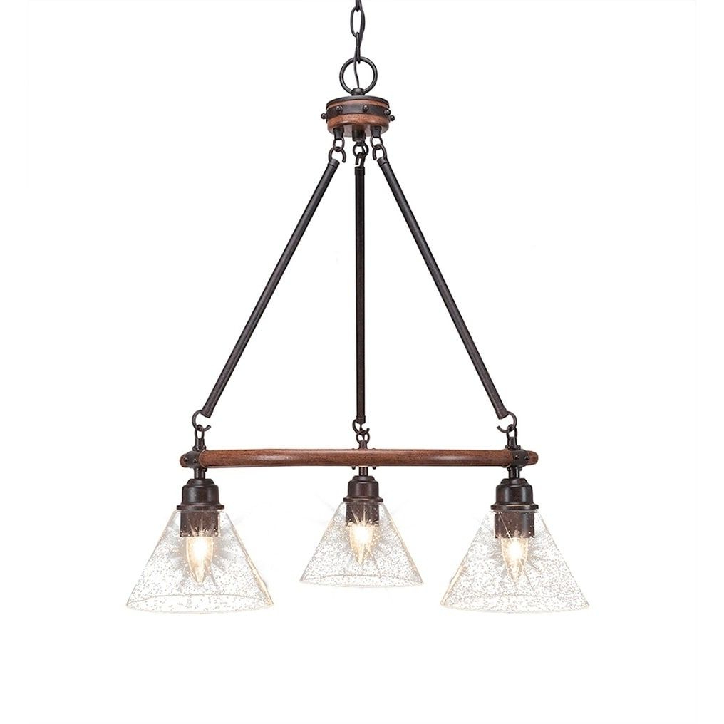 "3 Light Chandelier With 7"" Clear Bubble Glass In 2019 Pertaining To Fashionable Pickensville 6 Light Wagon Wheel Chandeliers (View 1 of 20)"