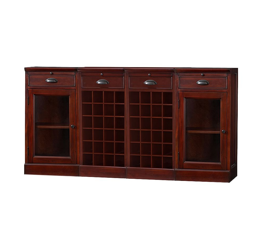 4 Piece Modular Bar Buffet(2 Wine Grid Bases & 2 Glass Door Pertaining To Widely Used Norton Sideboards (View 12 of 20)