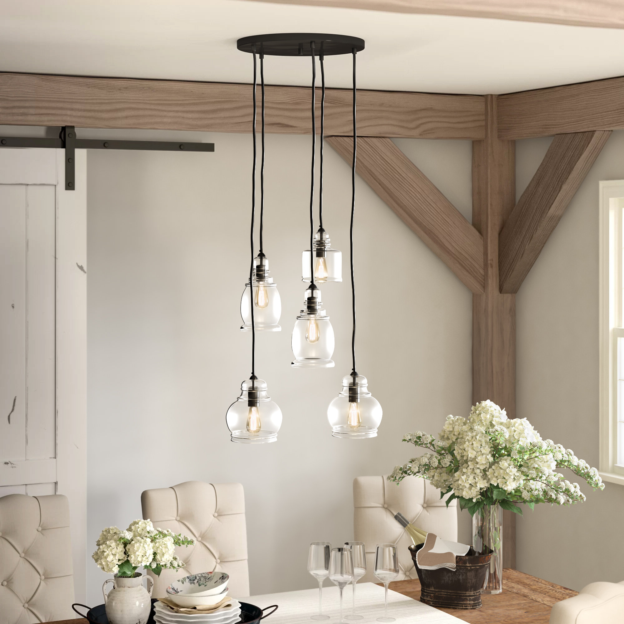 5 Light Cluster Bell Pendant With Regard To Best And Newest Pruett Cognac 3 Light Cluster Bell Pendants (View 2 of 20)