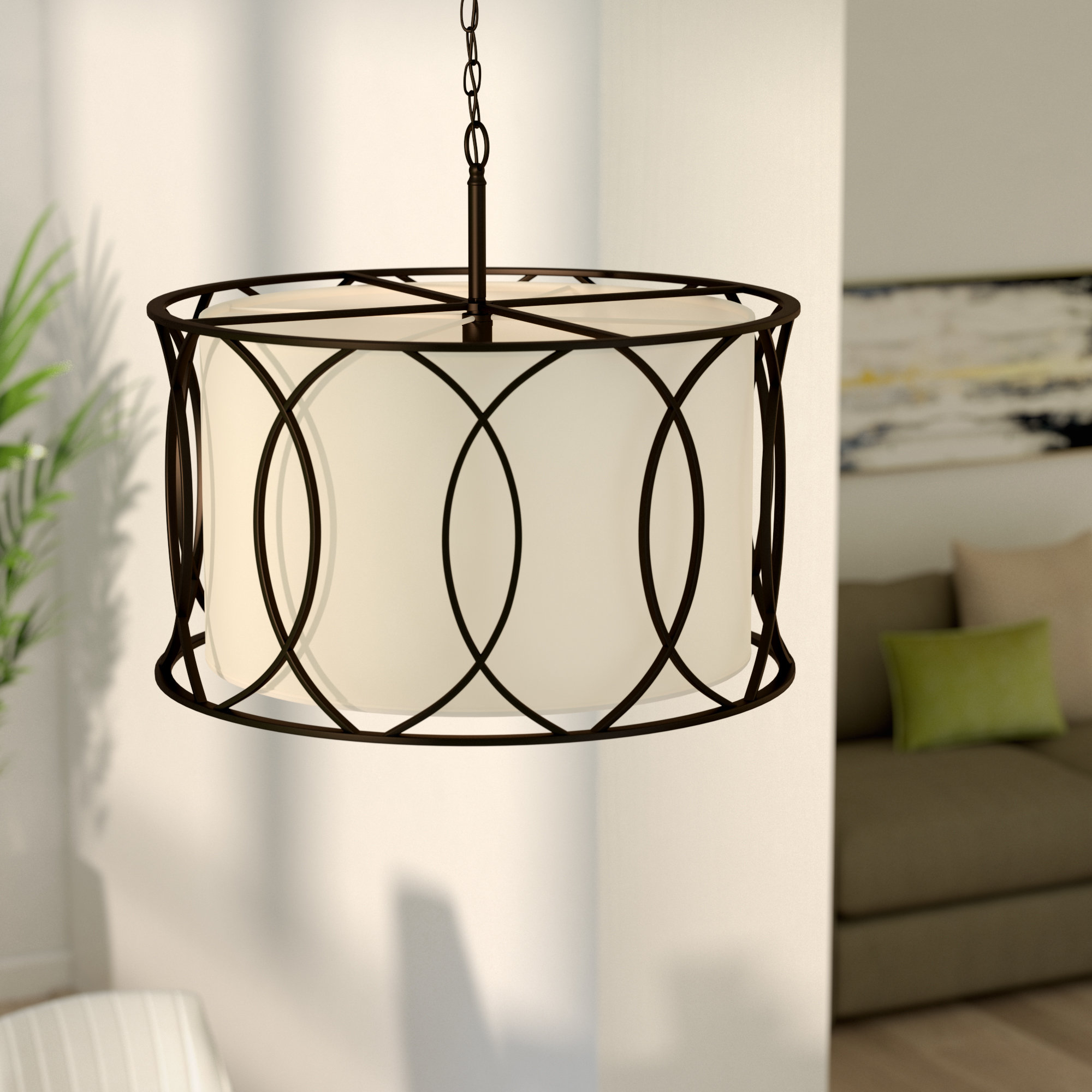 """Aadhya 5 Light Drum Chandeliers Intended For Well Known Drum Large (Between 21"""" – 30"""" Wide) Chandeliers You'll Love (View 5 of 20)"""