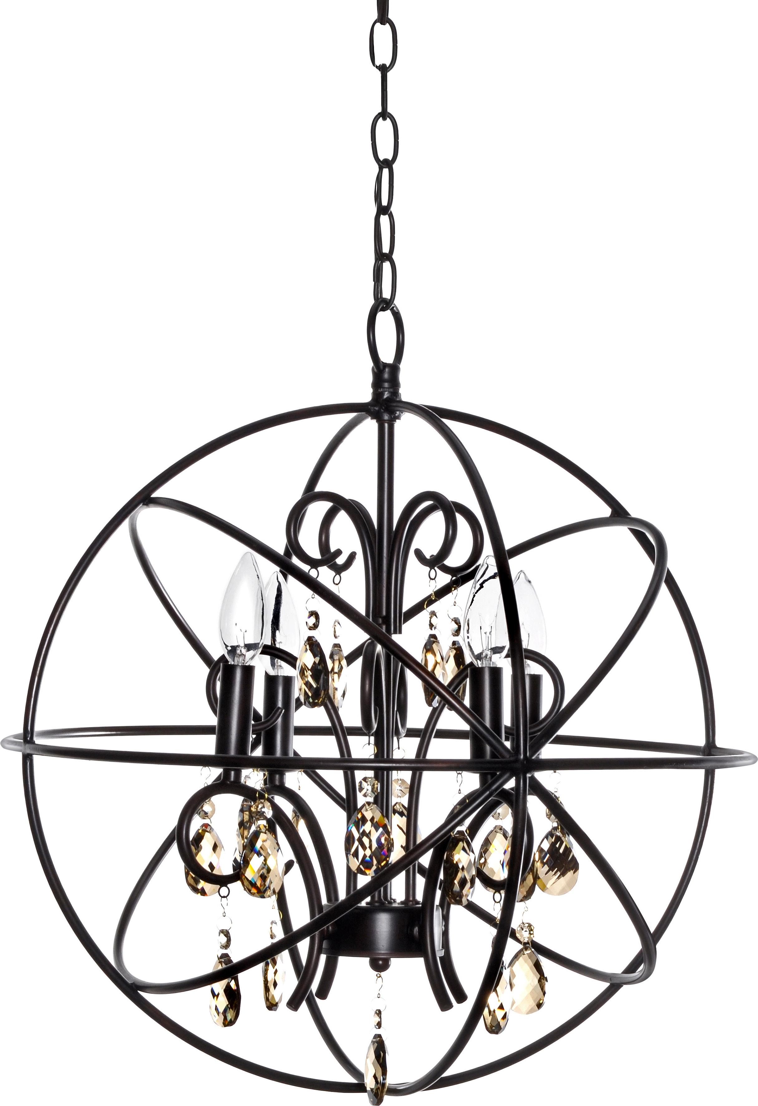 Alden 4 Light Globe Chandelier In Newest Alden 3 Light Single Globe Pendants (View 7 of 20)