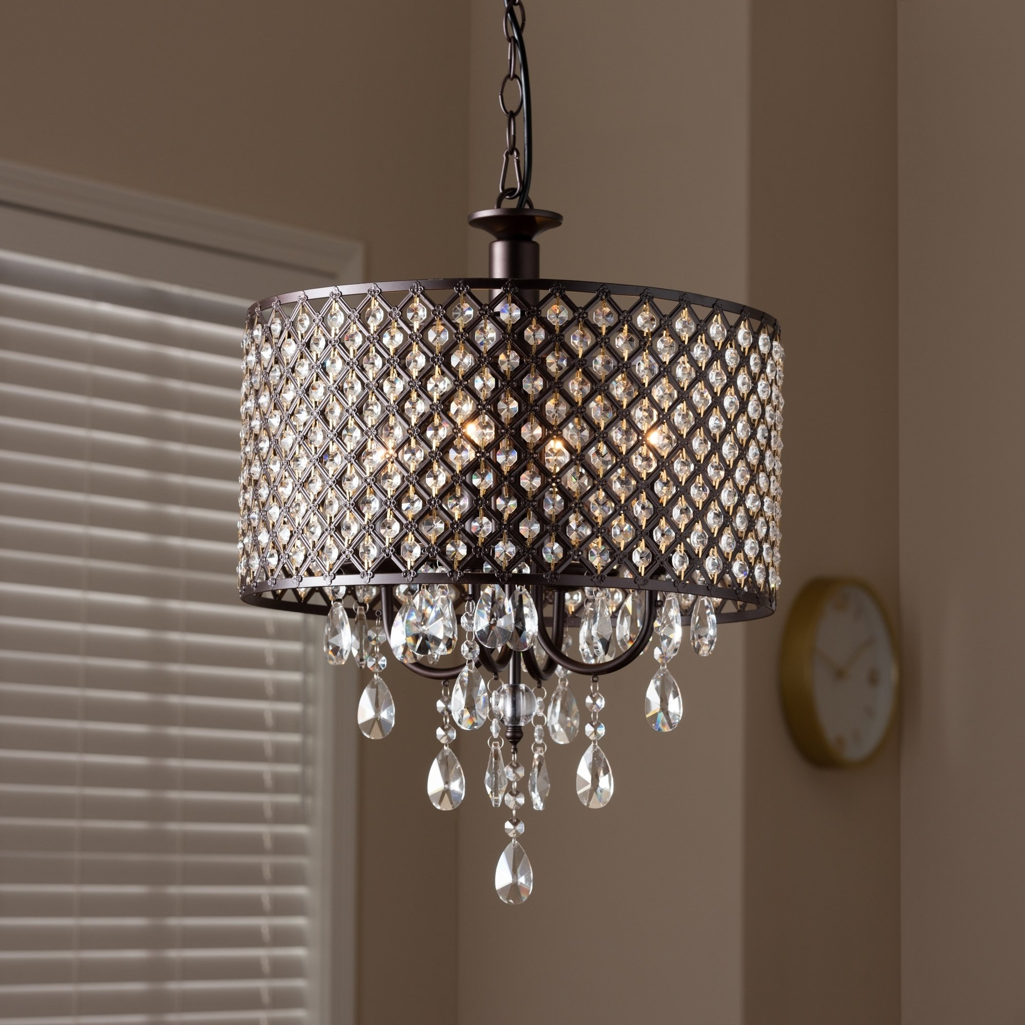 Aldgate 4 Light Crystal Chandeliers Inside Recent Contemporary Dark Bronze 4 Light Drum Pendant Light (Gallery 14 of 20)