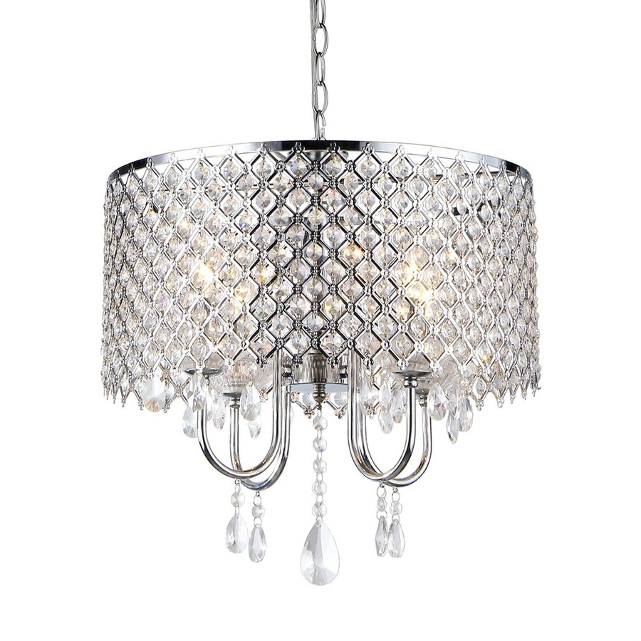 Aldgate 4 Light Crystal Chandeliers Intended For 2020 Lowes $130.77 Warehouse Of Tiffany 18 In 4 Light Silver (Gallery 13 of 20)