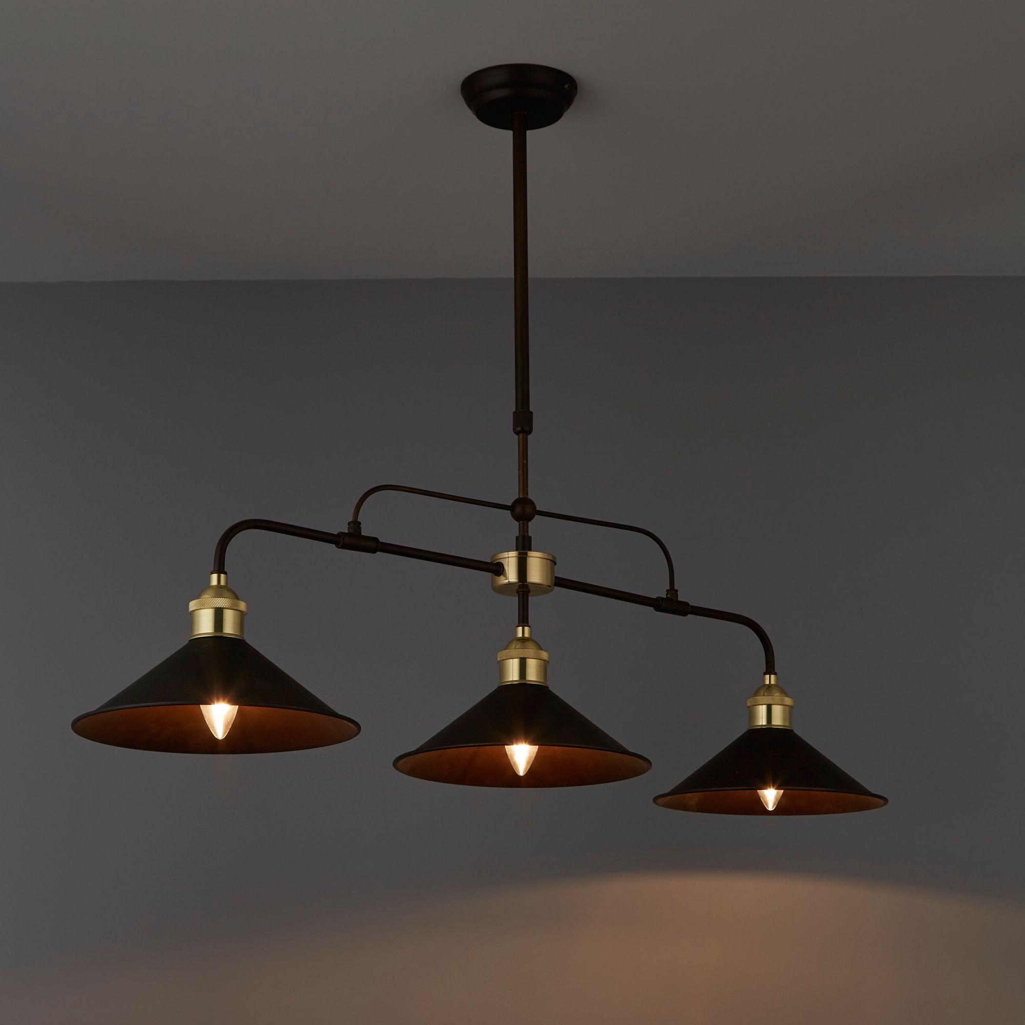 Alfie Bronze Effect 3 Lamp Pendant Ceiling Light (View 3 of 20)